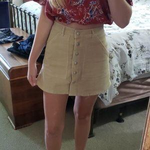Tobi Suede Tan Button Down Pocket Skirt